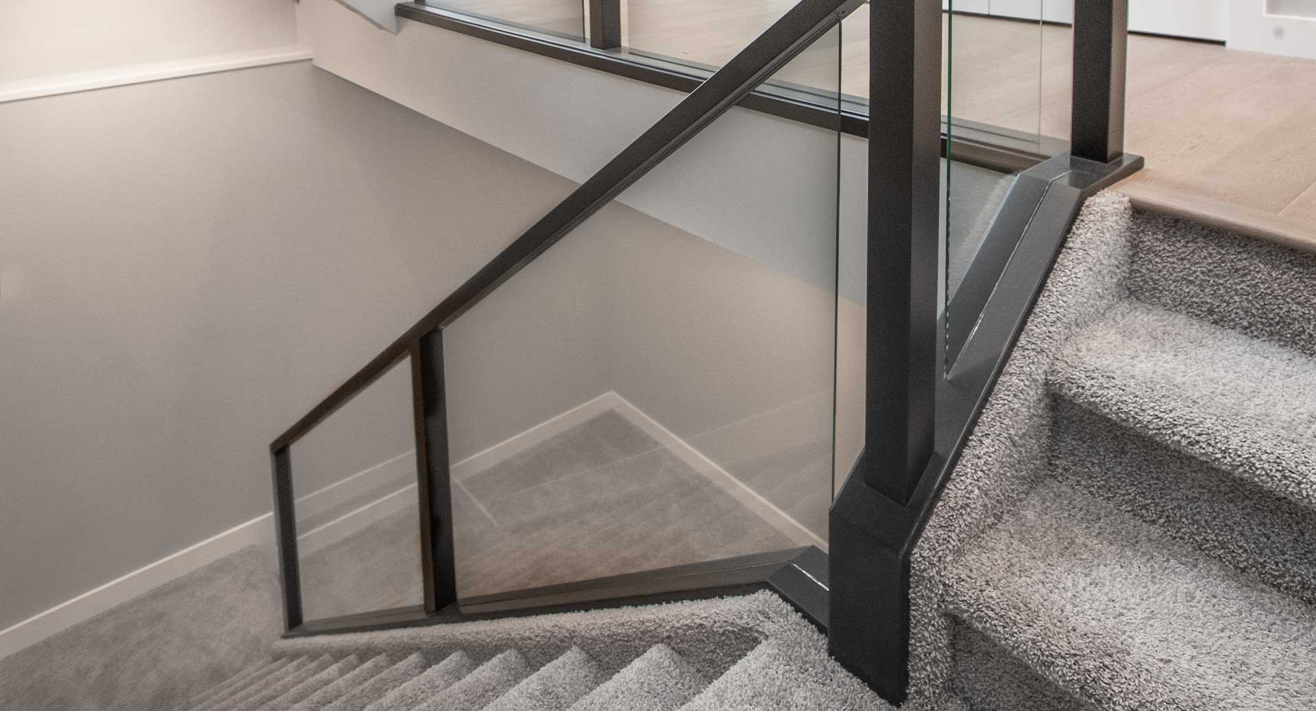 edmonton-home-builder-Kanvi-homes-finished-stairwell-to-the-basement